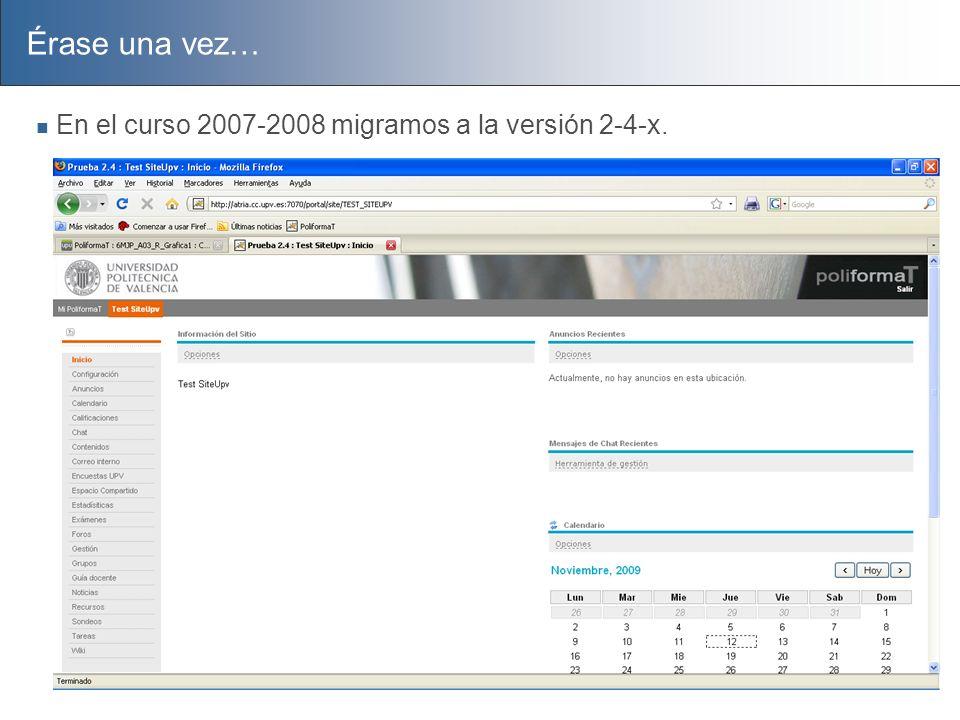 Érase una vez… En el curso 2007-2008 migramos a la versión 2-4-x.