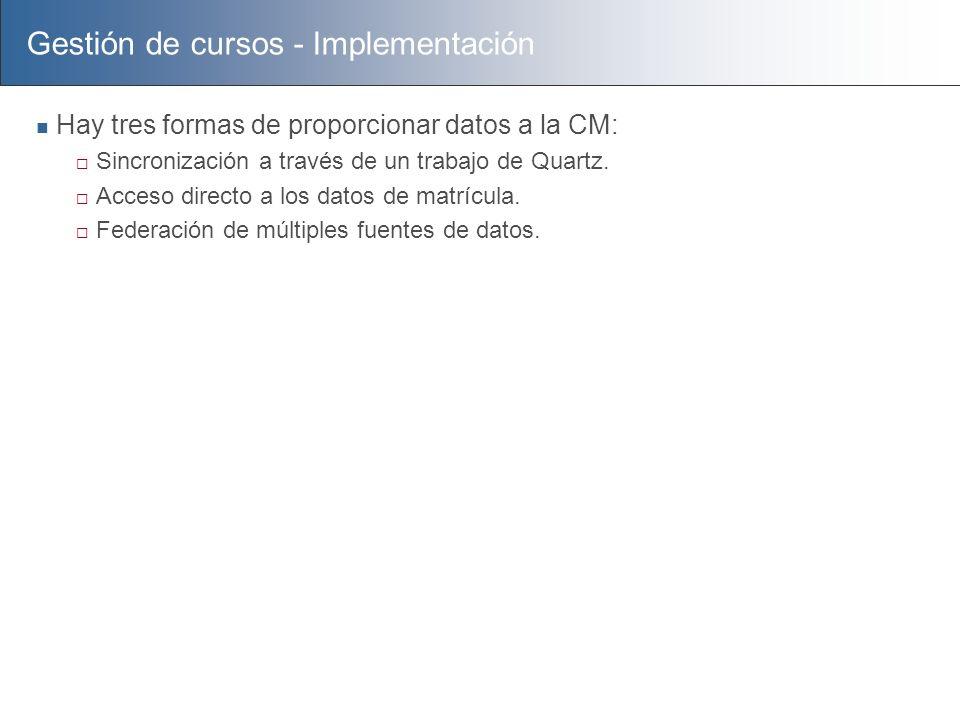 Gestión de cursos - Implementación Hay tres formas de proporcionar datos a la CM: Sincronización a través de un trabajo de Quartz. Acceso directo a lo