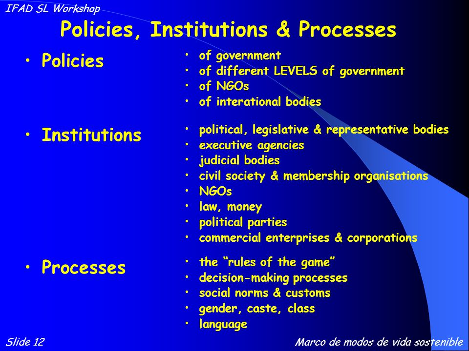 Policies, Institutions & Processes Policies of government of different LEVELS of government of NGOs of interational bodies Institutions Processes political, legislative & representative bodies executive agencies judicial bodies civil society & membership organisations NGOs law, money political parties commercial enterprises & corporations the rules of the game decision-making processes social norms & customs gender, caste, class language Slide 12 IFAD SL Workshop Marco de modos de vida sostenible
