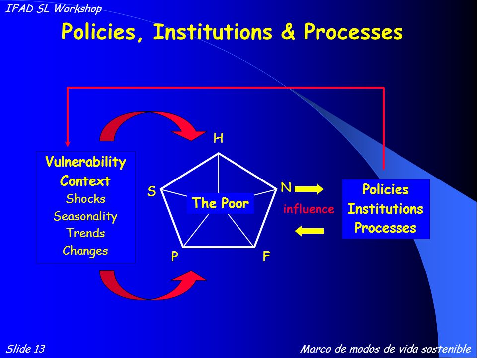 Policies Institutions Processes FP H N S The Poor Vulnerability Context Shocks Seasonality Trends Changes influence Policies, Institutions & Processes