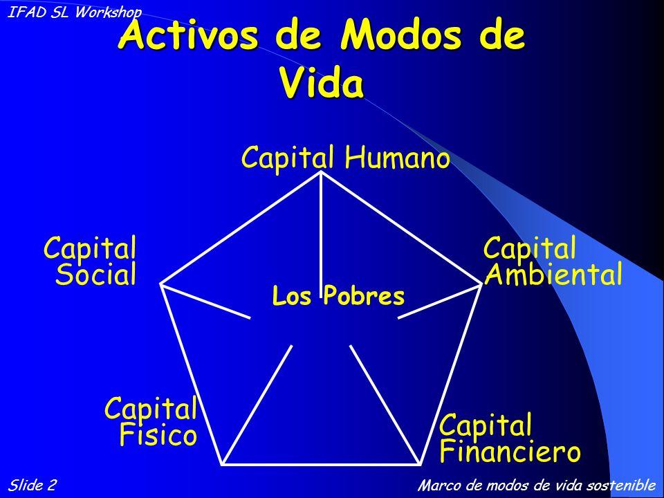 Activos de Modos de Vida Capital Financiero Capital Ambiental Capital Social Capital Fisico Capital Humano Los Pobres Slide 2 IFAD SL Workshop Marco de modos de vida sostenible