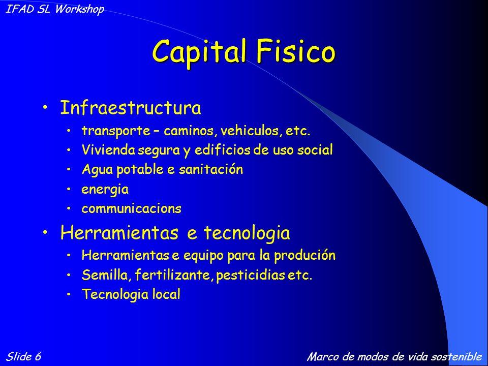 Capital Financiero Ahorros Credito/debito - formal, informal, ONGs Transferencias Pensiones Salarios Slide 7 IFAD SL Workshop Marco de modos de vida sostenible