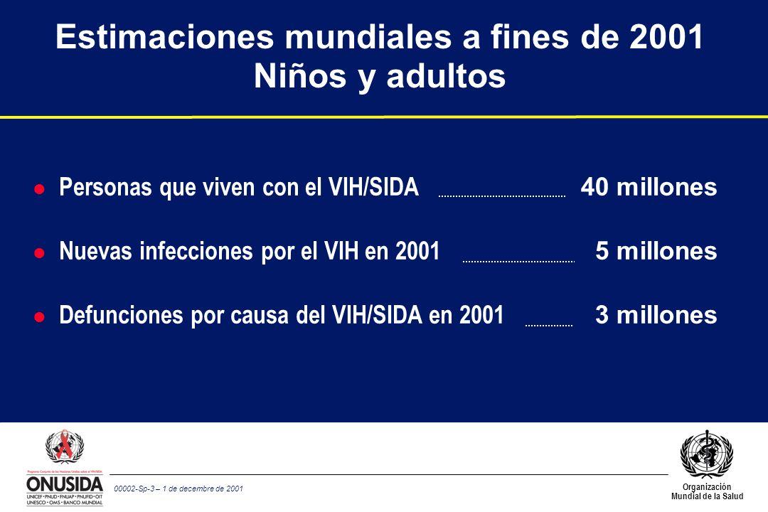 Organización Mundial de la Salud 00002-Sp-3 – 1 de decembre de 2001 Estimaciones mundiales a fines de 2001 Niños y adultos l Personas que viven con el