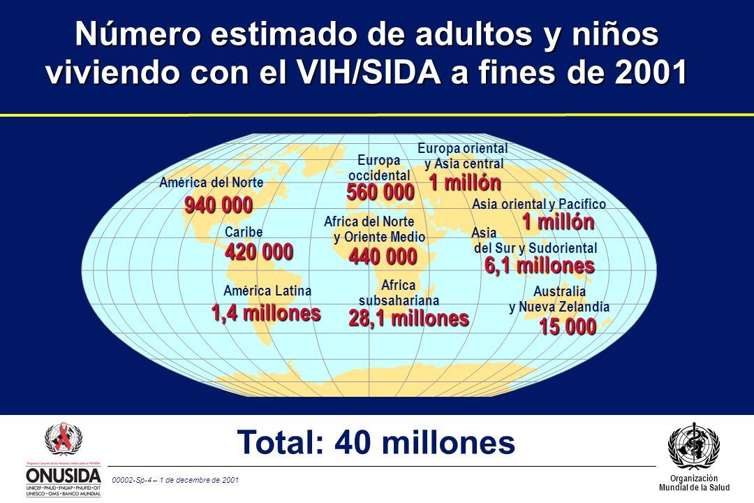 Organización Mundial de la Salud 00002-Sp-4 – 1 de decembre de 2001 Número estimado de adultos y niños viviendo con el VIH/SIDA a fines de 2001 560 00
