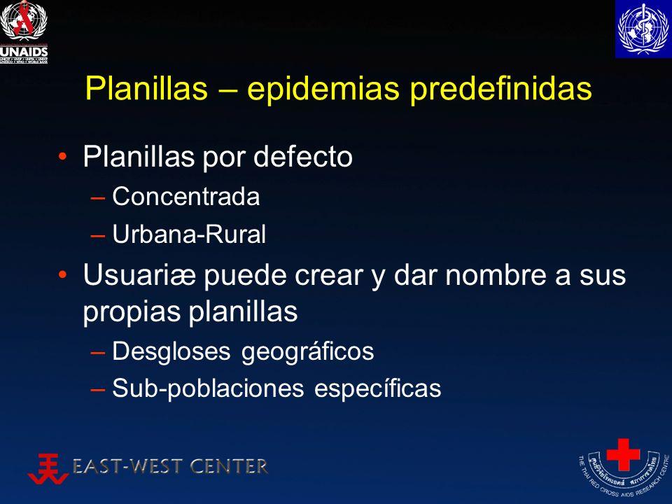 Planillas – epidemias predefinidas Planillas por defecto –Concentrada –Urbana-Rural Usuariæ puede crear y dar nombre a sus propias planillas –Desglose