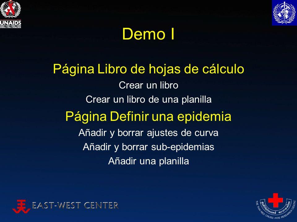 Demo I Página Libro de hojas de cálculo Crear un libro Crear un libro de una planilla Página Definir una epidemia Añadir y borrar ajustes de curva Aña
