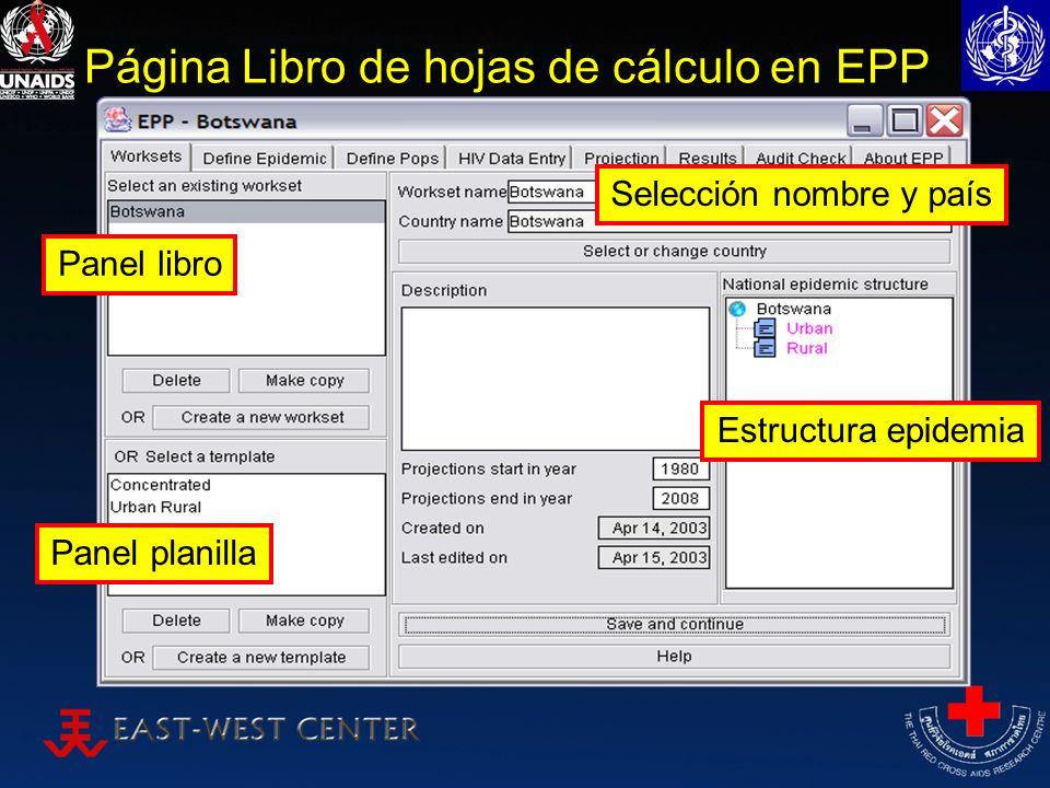 Página Libro de hojas de cálculo en EPP Panel libro Panel planilla Estructura epidemia Selección nombre y país