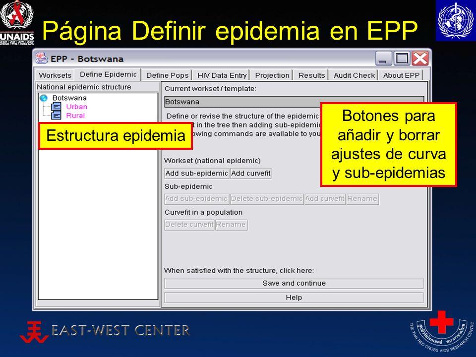 Página Definir epidemia en EPP Estructura epidemia Botones para añadir y borrar ajustes de curva y sub-epidemias