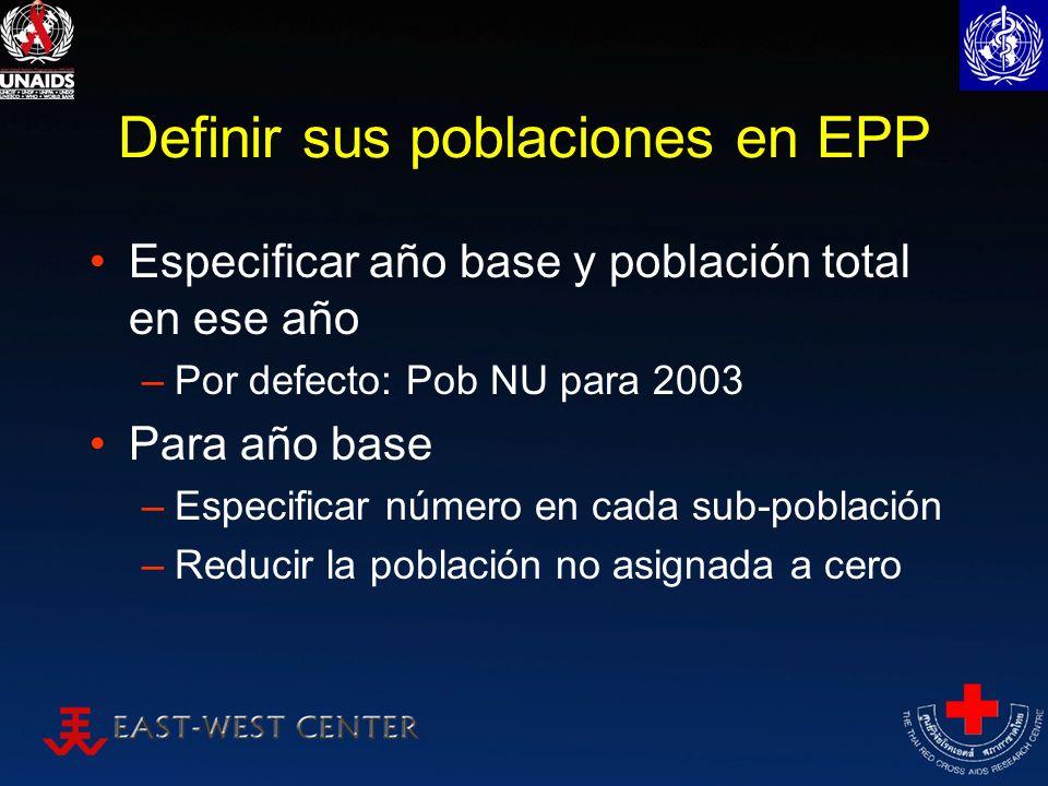 Definir sus poblaciones en EPP Especificar año base y población total en ese año –Por defecto: Pob NU para 2003 Para año base –Especificar número en c