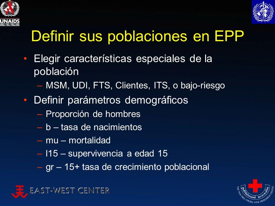 Definir sus poblaciones en EPP Elegir características especiales de la población –MSM, UDI, FTS, Clientes, ITS, o bajo-riesgo Definir parámetros demog