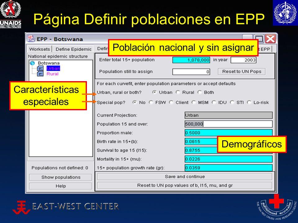 Página Definir poblaciones en EPP Población nacional y sin asignar Características especiales Demográficos