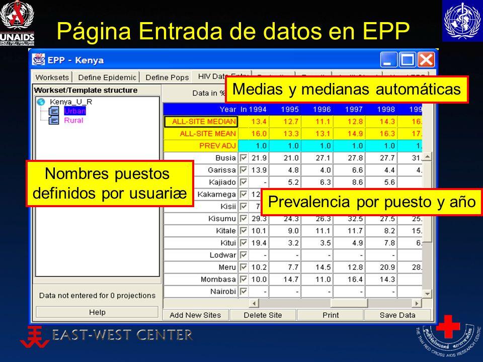 Página Entrada de datos en EPP Nombres puestos definidos por usuariæ Medias y medianas automáticas Prevalencia por puesto y año