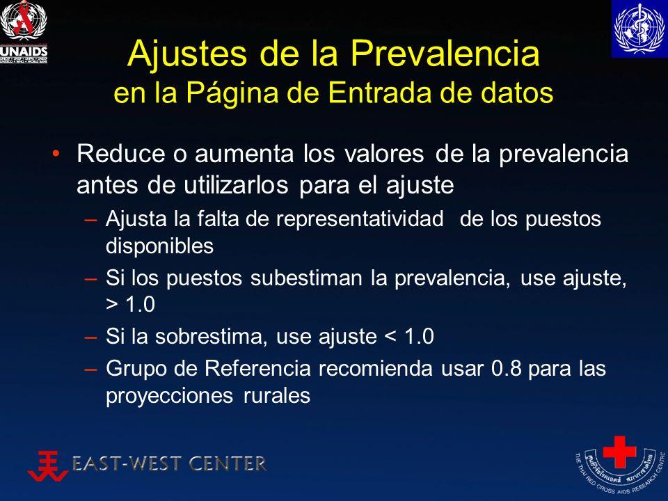 Ajustes de la Prevalencia en la Página de Entrada de datos Reduce o aumenta los valores de la prevalencia antes de utilizarlos para el ajuste –Ajusta