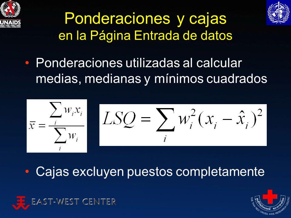 Ponderaciones y cajas en la Página Entrada de datos Ponderaciones utilizadas al calcular medias, medianas y mínimos cuadrados Cajas excluyen puestos c