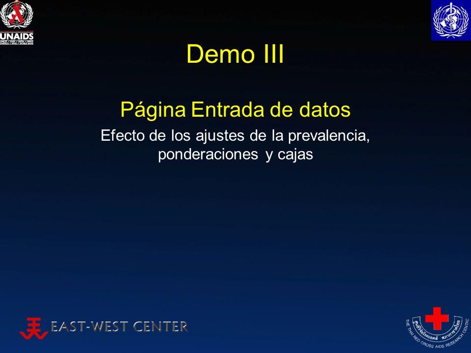 Demo III Página Entrada de datos Efecto de los ajustes de la prevalencia, ponderaciones y cajas