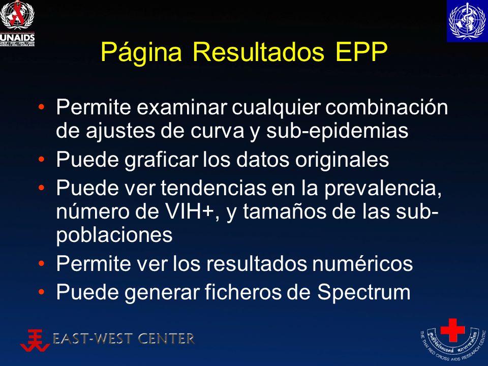 Página Resultados EPP Permite examinar cualquier combinación de ajustes de curva y sub-epidemias Puede graficar los datos originales Puede ver tendenc