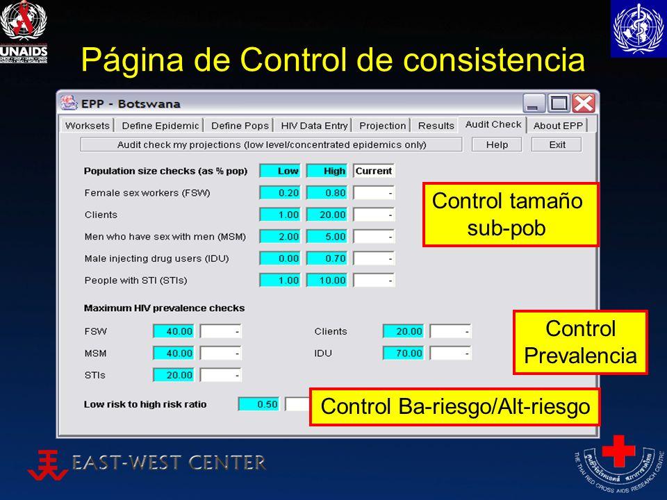 Página de Control de consistencia Control tamaño sub-pob Control Ba-riesgo/Alt-riesgo Control Prevalencia