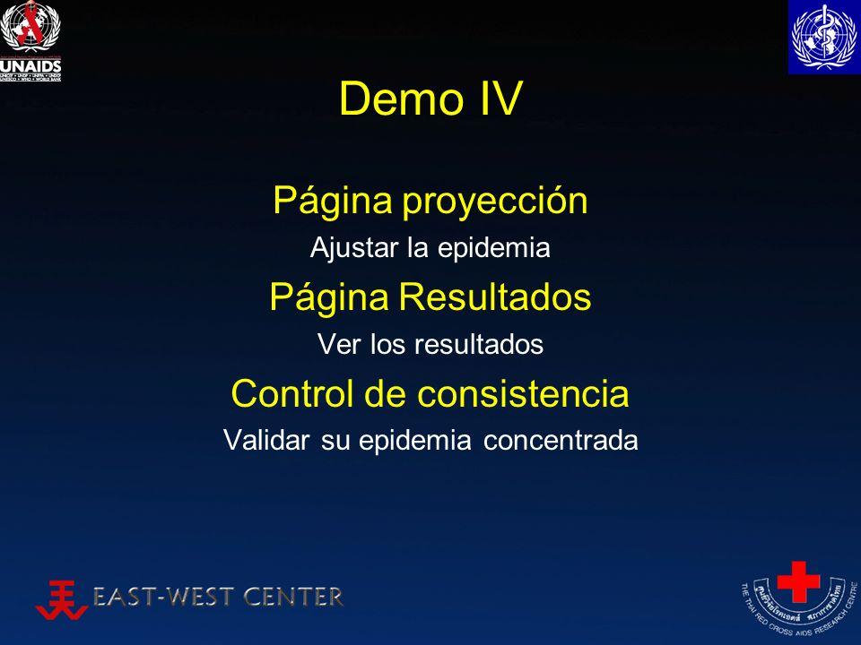 Demo IV Página proyección Ajustar la epidemia Página Resultados Ver los resultados Control de consistencia Validar su epidemia concentrada