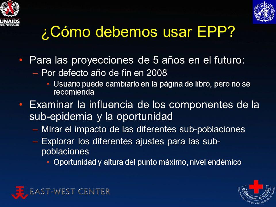 ¿Cómo debemos usar EPP? Para las proyecciones de 5 años en el futuro: –Por defecto año de fin en 2008 Usuario puede cambiarlo en la página de libro, p