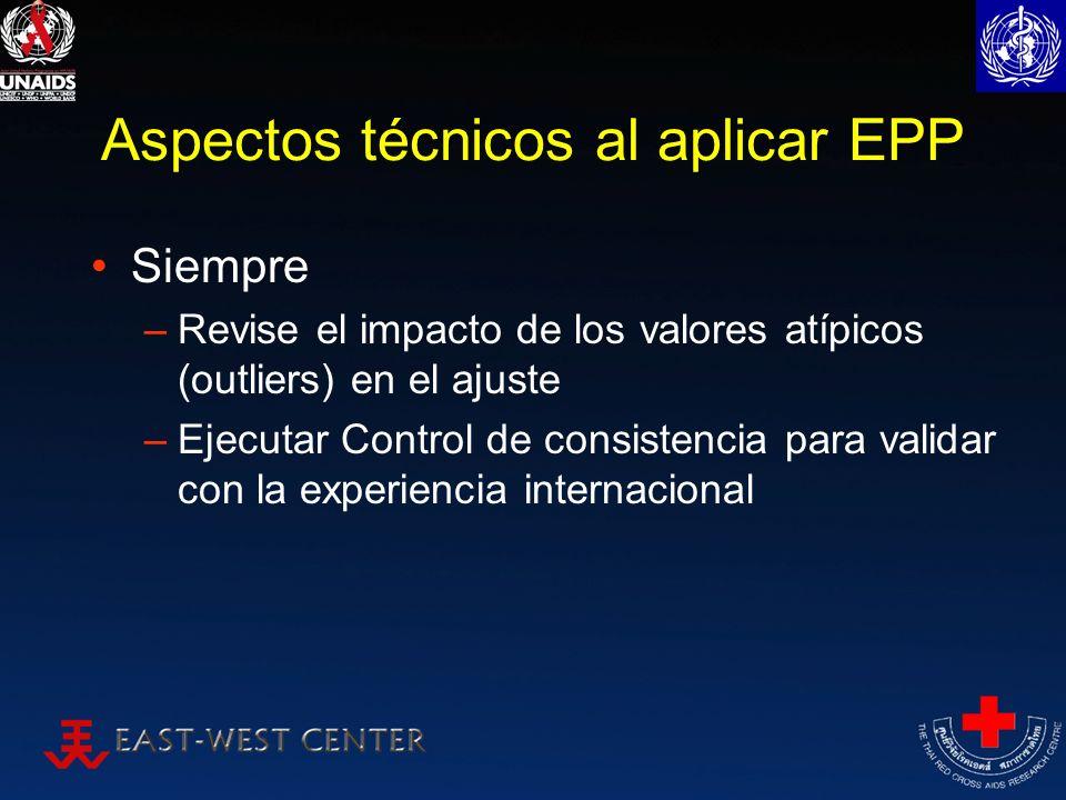 Aspectos técnicos al aplicar EPP Siempre –Revise el impacto de los valores atípicos (outliers) en el ajuste –Ejecutar Control de consistencia para val