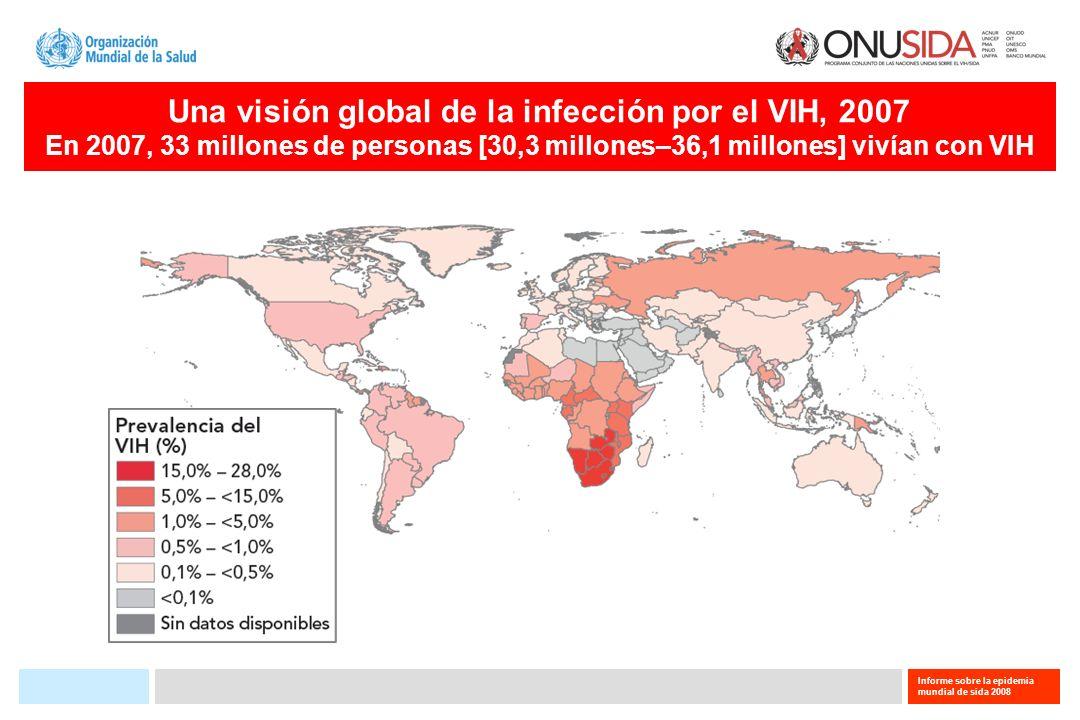 Informe sobre la epidemia mundial de sida 2008 Una visión global de la infección por el VIH, 2007 En 2007, 33 millones de personas [30,3 millones–36,1