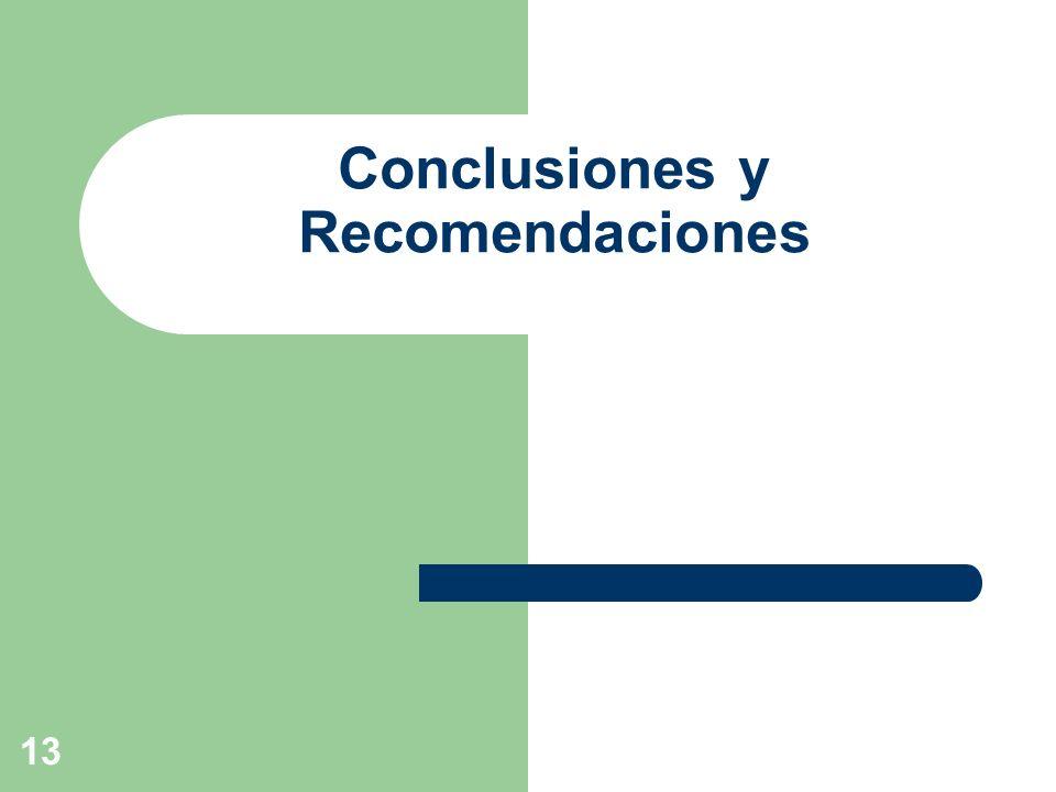 13 Conclusiones y Recomendaciones