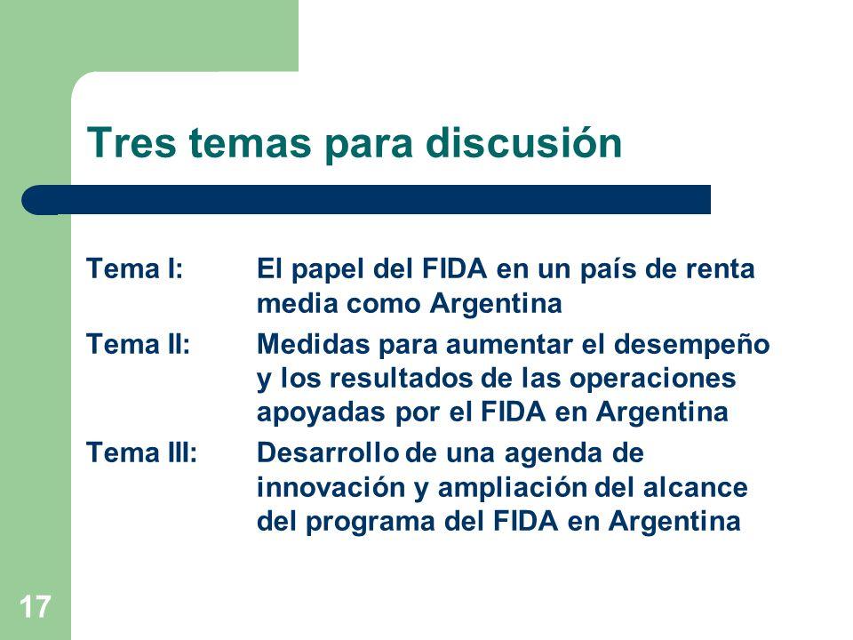 17 Tres temas para discusión Tema I: El papel del FIDA en un país de renta media como Argentina Tema II: Medidas para aumentar el desempeño y los resultados de las operaciones apoyadas por el FIDA en Argentina Tema III: Desarrollo de una agenda de innovación y ampliación del alcance del programa del FIDA en Argentina
