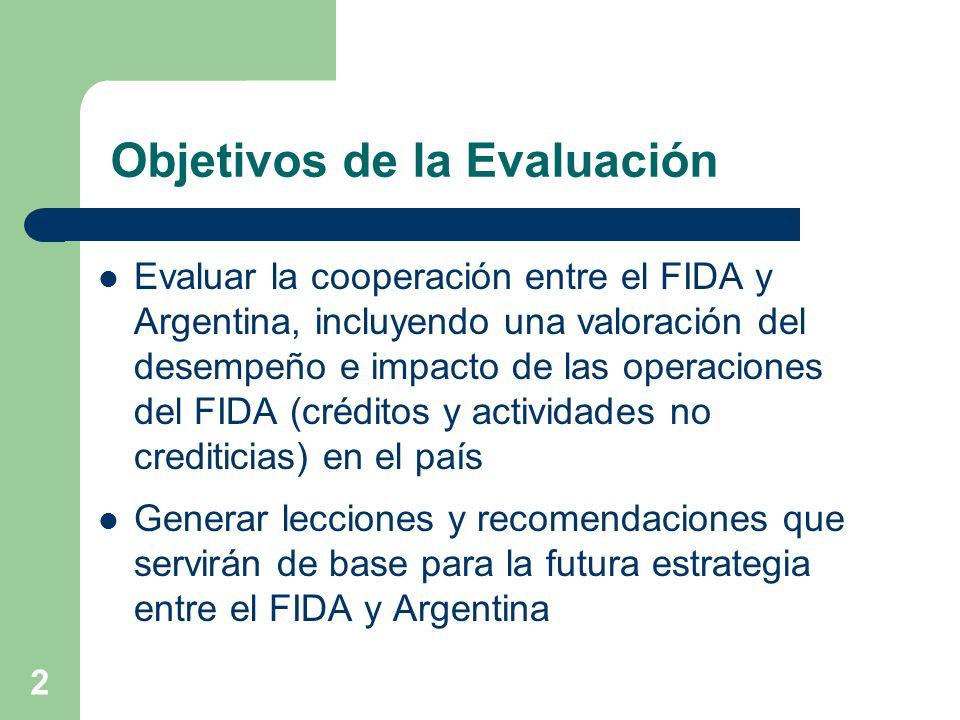 2 Objetivos de la Evaluación Evaluar la cooperación entre el FIDA y Argentina, incluyendo una valoración del desempeño e impacto de las operaciones del FIDA (créditos y actividades no crediticias) en el país Generar lecciones y recomendaciones que servirán de base para la futura estrategia entre el FIDA y Argentina