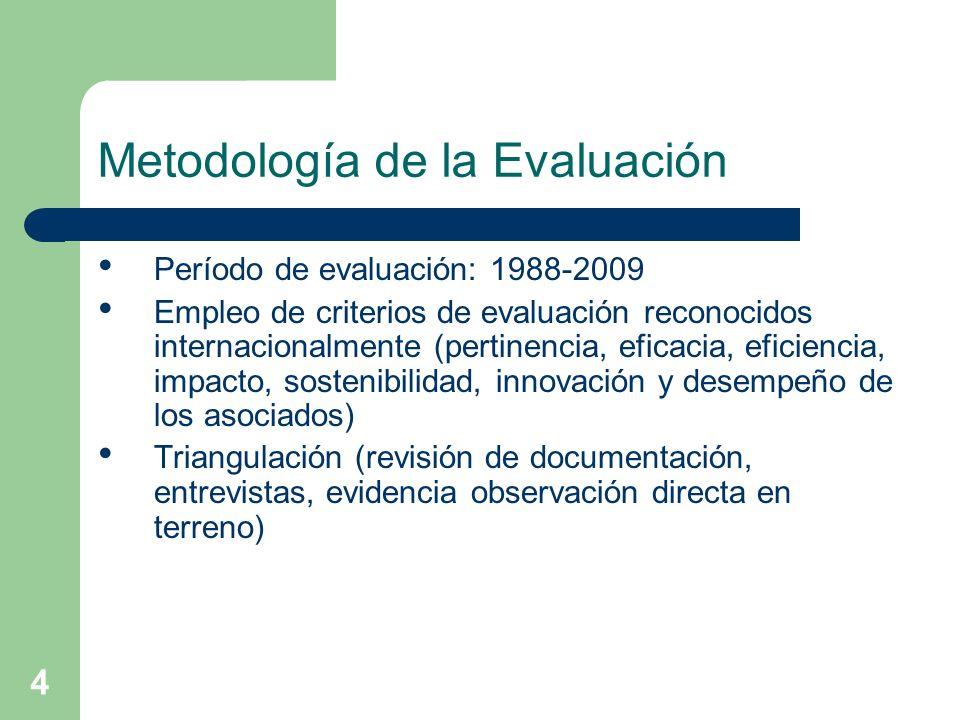 4 Metodología de la Evaluación Período de evaluación: 1988-2009 Empleo de criterios de evaluación reconocidos internacionalmente (pertinencia, eficacia, eficiencia, impacto, sostenibilidad, innovación y desempeño de los asociados) Triangulación (revisión de documentación, entrevistas, evidencia observación directa en terreno)