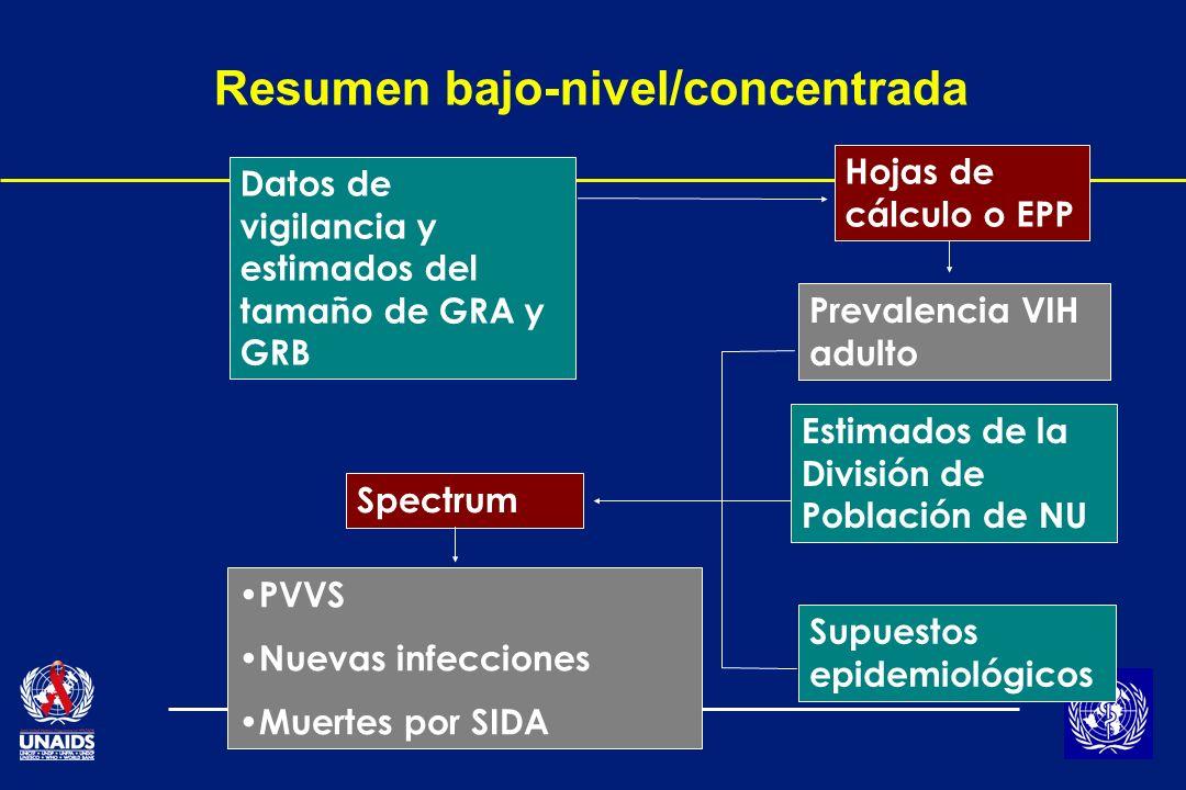 Resumen bajo-nivel/concentrada Datos de vigilancia y estimados del tamaño de GRA y GRB Hojas de cálculo o EPP Prevalencia VIH adulto Estimados de la División de Población de NU Supuestos epidemiológicos Spectrum PVVS Nuevas infecciones Muertes por SIDA