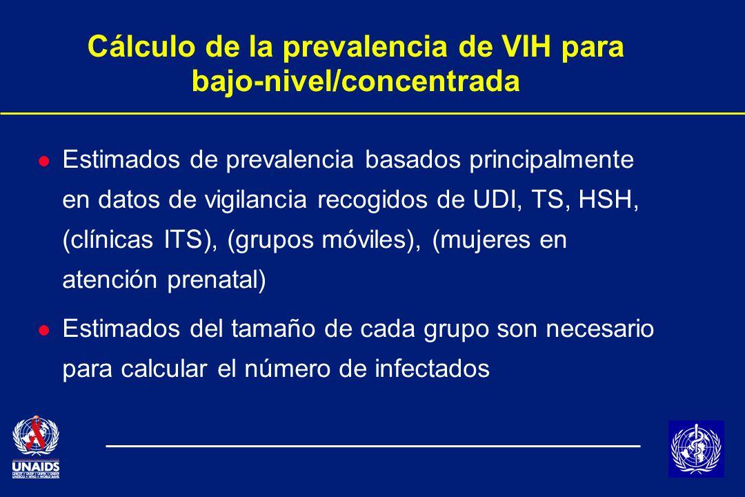 Cálculo de la prevalencia de VIH para bajo-nivel/concentrada l Estimados de prevalencia basados principalmente en datos de vigilancia recogidos de UDI, TS, HSH, (clínicas ITS), (grupos móviles), (mujeres en atención prenatal) l Estimados del tamaño de cada grupo son necesario para calcular el número de infectados