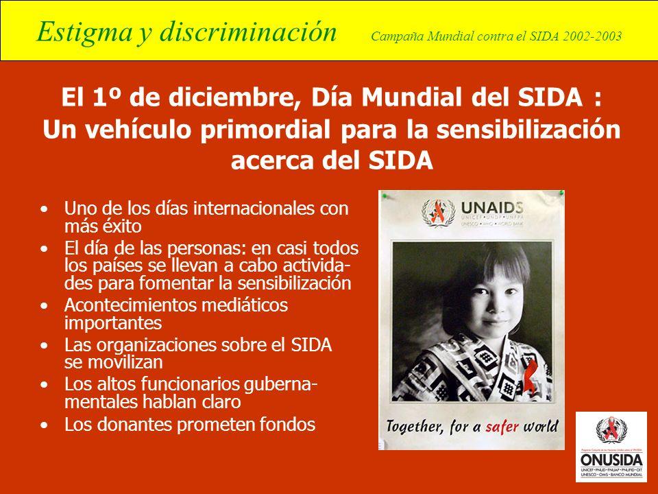 Estigma y discriminación Campaña Mundial contra el SIDA 2002-2003 El 1º de diciembre, Día Mundial del SIDA : Un vehículo primordial para la sensibiliz