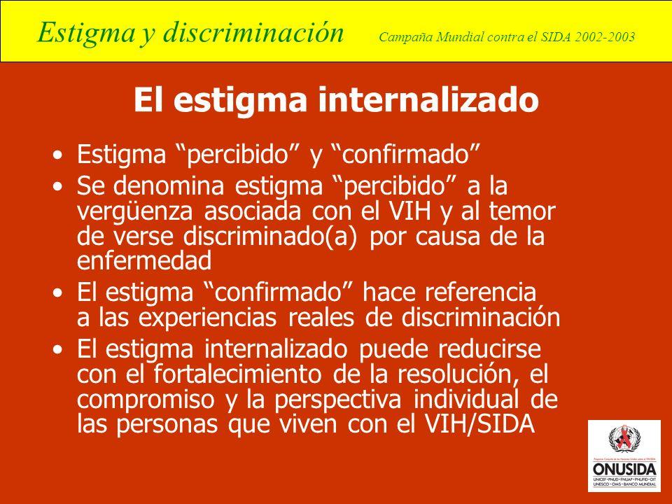 Estigma y discriminación Campaña Mundial contra el SIDA 2002-2003 El estigma internalizado Estigma percibido y confirmado Se denomina estigma percibid