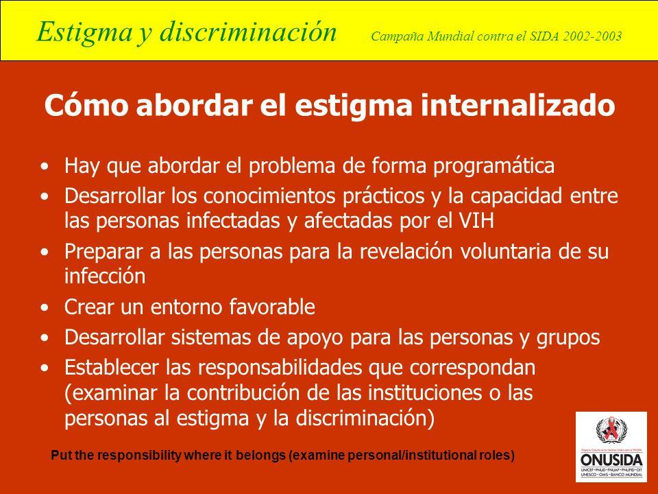 Estigma y discriminación Campaña Mundial contra el SIDA 2002-2003 Cómo abordar el estigma internalizado Hay que abordar el problema de forma programát
