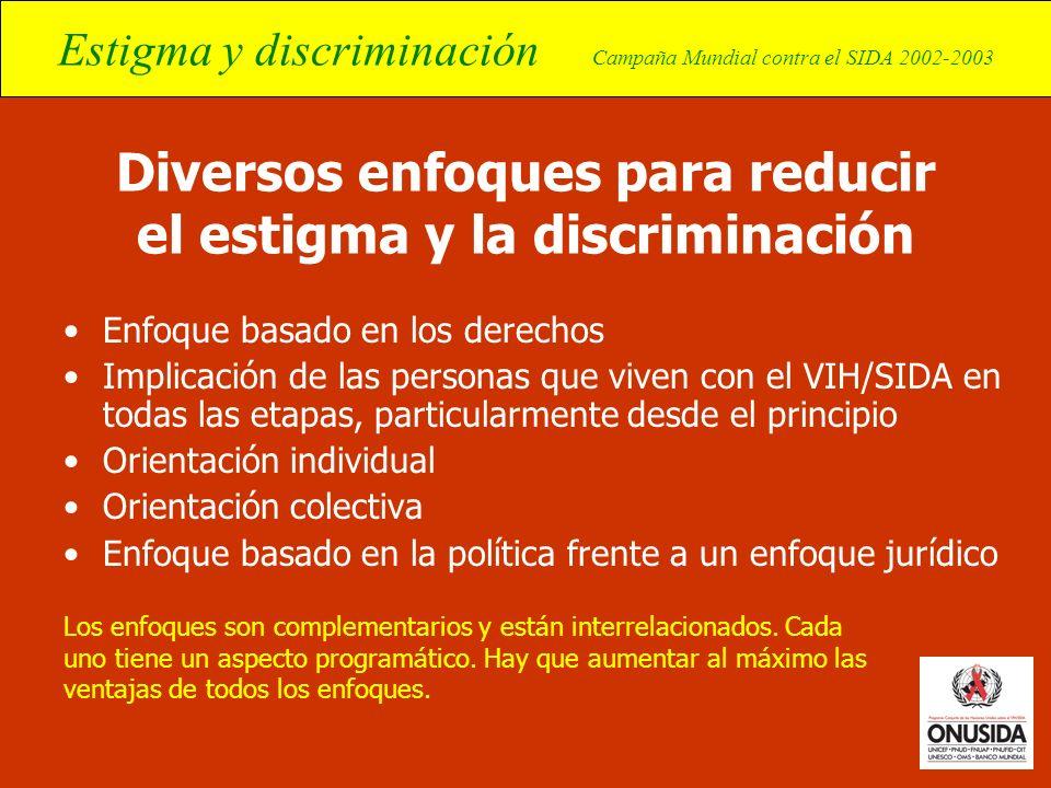 Estigma y discriminación Campaña Mundial contra el SIDA 2002-2003 Diversos enfoques para reducir el estigma y la discriminación Enfoque basado en los