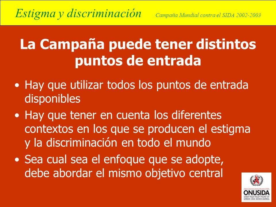 Estigma y discriminación Campaña Mundial contra el SIDA 2002-2003 La Campaña puede tener distintos puntos de entrada Hay que utilizar todos los puntos