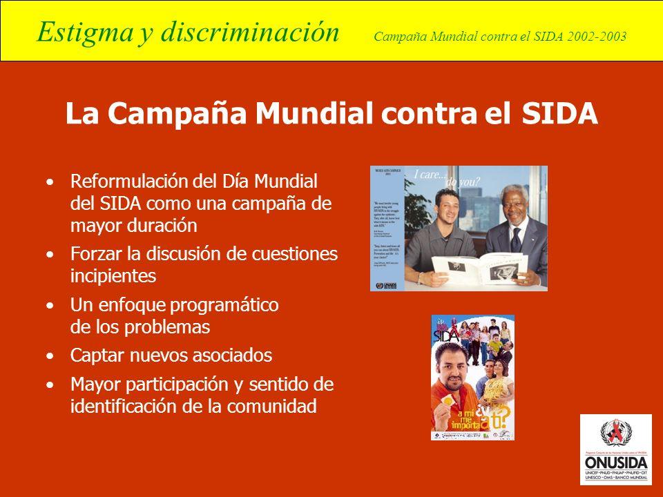 Estigma y discriminación Campaña Mundial contra el SIDA 2002-2003 La Campaña Mundial contra el SIDA Reformulación del Día Mundial del SIDA como una ca