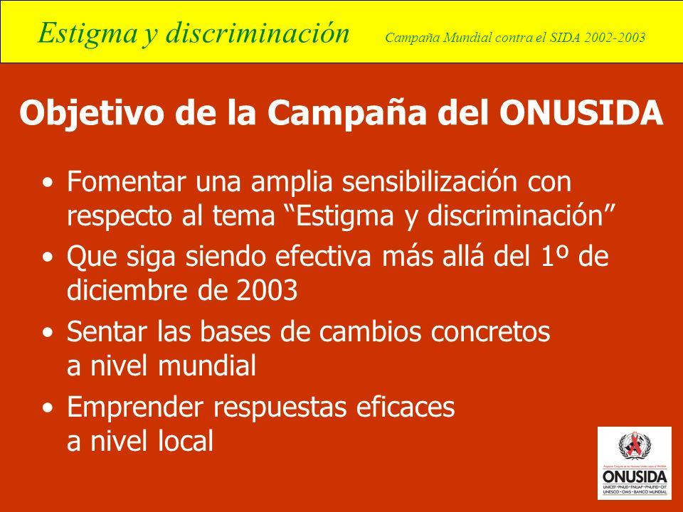 Estigma y discriminación Campaña Mundial contra el SIDA 2002-2003 Objetivo de la Campaña del ONUSIDA Fomentar una amplia sensibilización con respecto