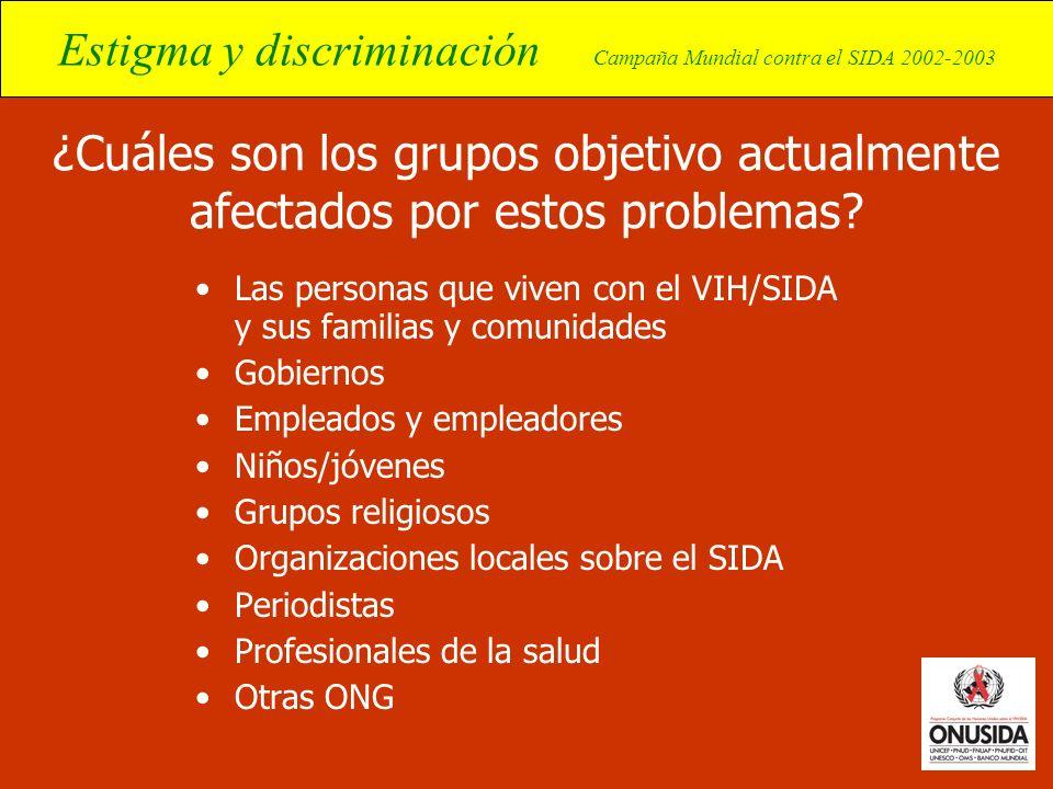 Estigma y discriminación Campaña Mundial contra el SIDA 2002-2003 ¿Cuáles son los grupos objetivo actualmente afectados por estos problemas? Las perso