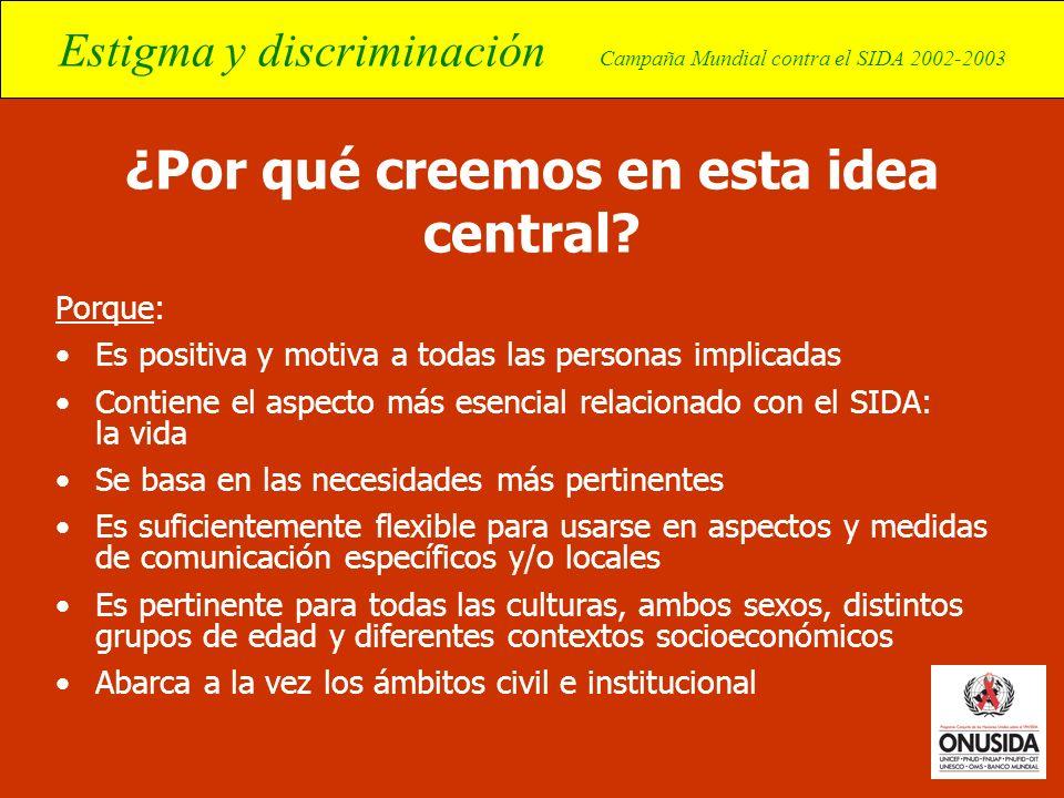 Estigma y discriminación Campaña Mundial contra el SIDA 2002-2003 ¿Por qué creemos en esta idea central? Porque: Es positiva y motiva a todas las pers