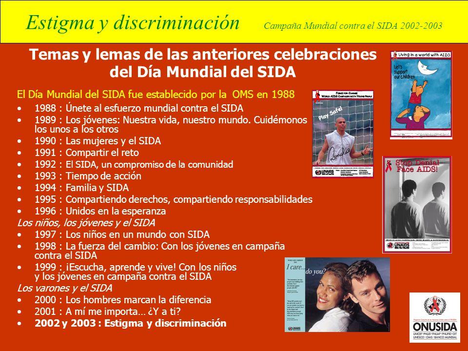 Estigma y discriminación Campaña Mundial contra el SIDA 2002-2003 Temas y lemas de las anteriores celebraciones del Día Mundial del SIDA El Día Mundia