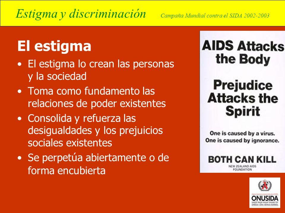 Estigma y discriminación Campaña Mundial contra el SIDA 2002-2003 El estigma El estigma lo crean las personas y la sociedad Toma como fundamento las r