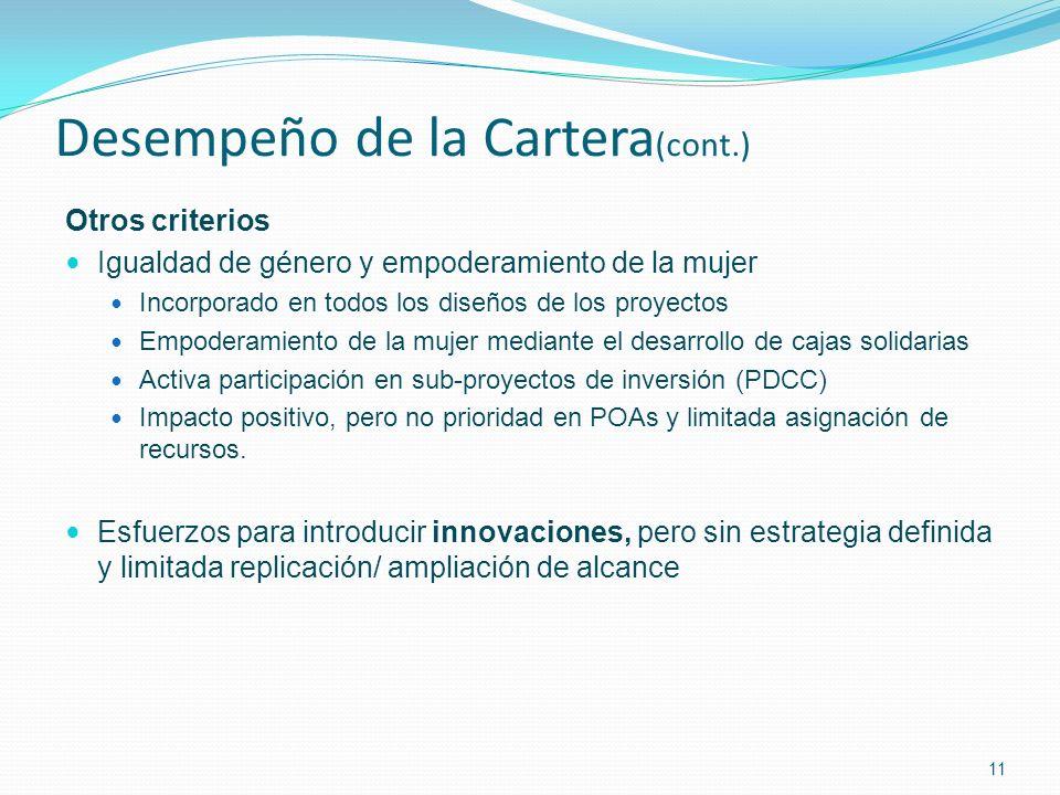 Desempeño de la Cartera (cont.) Otros criterios Igualdad de género y empoderamiento de la mujer Incorporado en todos los diseños de los proyectos Empoderamiento de la mujer mediante el desarrollo de cajas solidarias Activa participación en sub-proyectos de inversión (PDCC) Impacto positivo, pero no prioridad en POAs y limitada asignación de recursos.