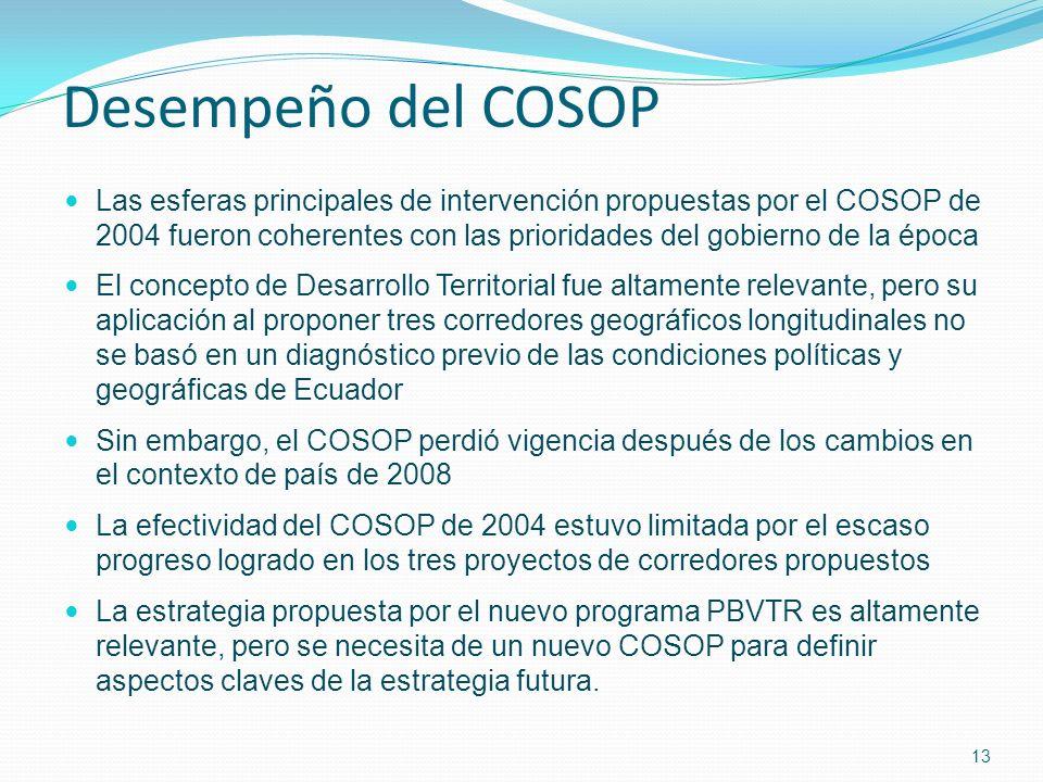 Desempeño del COSOP Las esferas principales de intervención propuestas por el COSOP de 2004 fueron coherentes con las prioridades del gobierno de la época El concepto de Desarrollo Territorial fue altamente relevante, pero su aplicación al proponer tres corredores geográficos longitudinales no se basó en un diagnóstico previo de las condiciones políticas y geográficas de Ecuador Sin embargo, el COSOP perdió vigencia después de los cambios en el contexto de país de 2008 La efectividad del COSOP de 2004 estuvo limitada por el escaso progreso logrado en los tres proyectos de corredores propuestos La estrategia propuesta por el nuevo programa PBVTR es altamente relevante, pero se necesita de un nuevo COSOP para definir aspectos claves de la estrategia futura.
