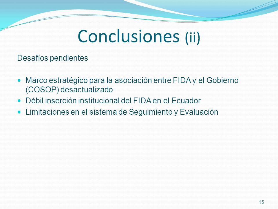 Conclusiones (ii) Desafíos pendientes Marco estratégico para la asociación entre FIDA y el Gobierno (COSOP) desactualizado Débil inserción institucional del FIDA en el Ecuador Limitaciones en el sistema de Seguimiento y Evaluación 15