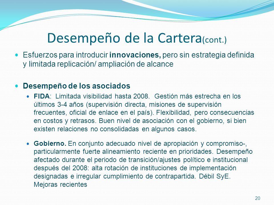 20 Desempeño de la Cartera (cont.) Esfuerzos para introducir innovaciones, pero sin estrategia definida y limitada replicación/ ampliación de alcance Desempeño de los asociados FIDA: Limitada visibilidad hasta 2008.