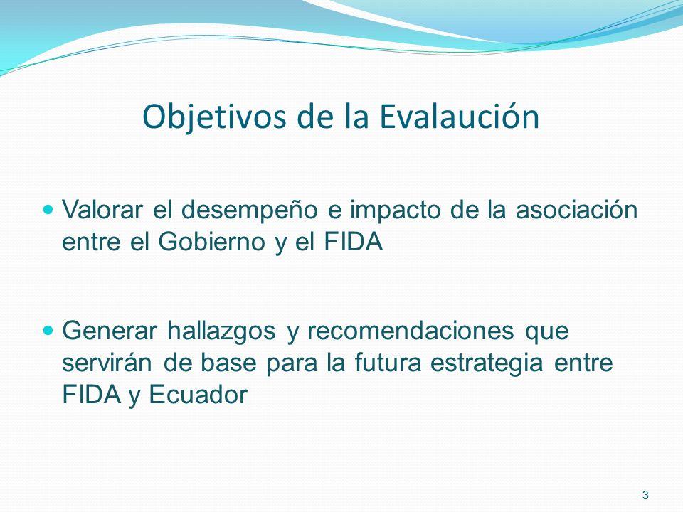 3 Objetivos de la Evalaución Valorar el desempeño e impacto de la asociación entre el Gobierno y el FIDA Generar hallazgos y recomendaciones que servirán de base para la futura estrategia entre FIDA y Ecuador 3