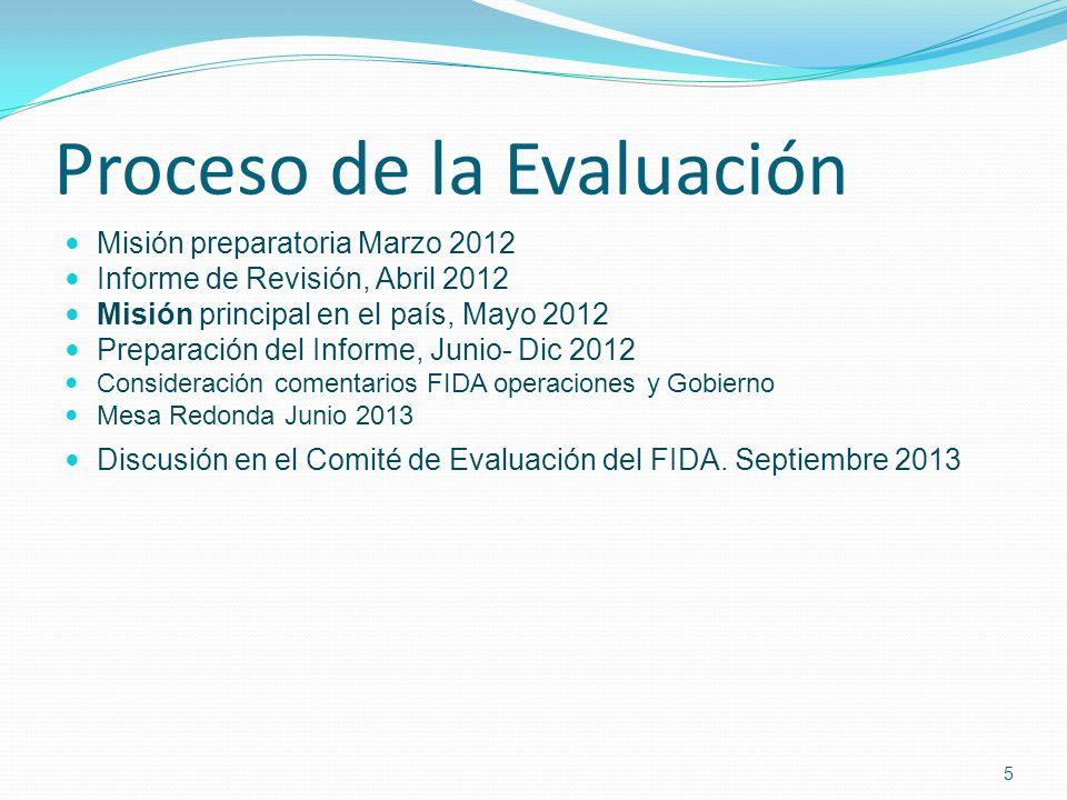 Proceso de la Evaluación Misión preparatoria Marzo 2012 Informe de Revisión, Abril 2012 Misión principal en el país, Mayo 2012 Preparación del Informe, Junio- Dic 2012 Consideración comentarios FIDA operaciones y Gobierno Mesa Redonda Junio 2013 Discusión en el Comité de Evaluación del FIDA.