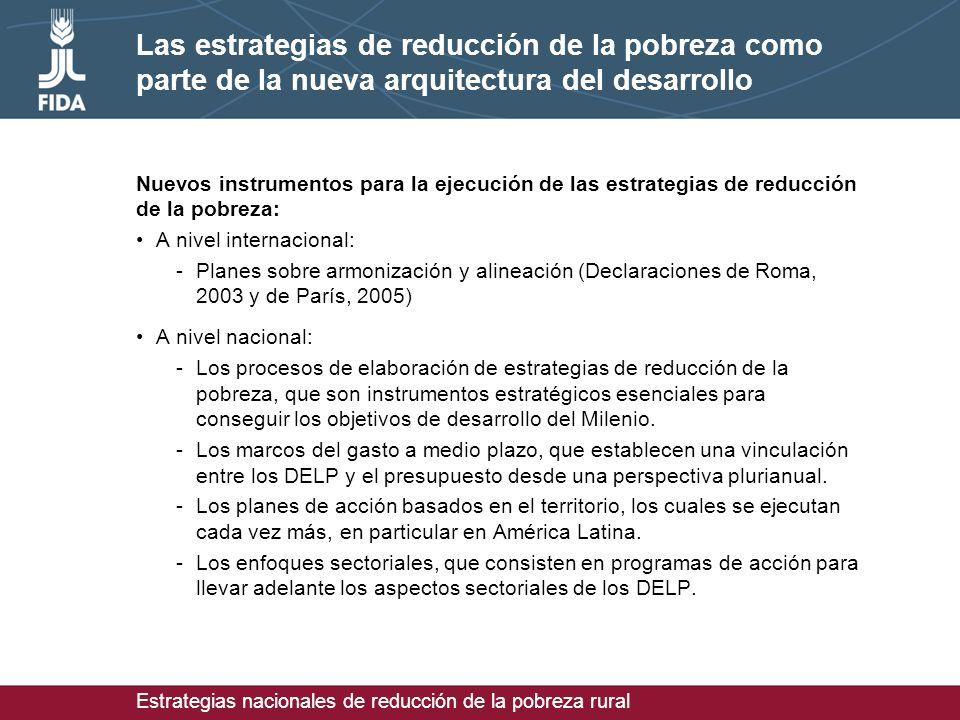 Estrategias nacionales de reducción de la pobreza rural Las estrategias de reducción de la pobreza como parte de la nueva arquitectura del desarrollo Nuevos instrumentos para la ejecución de las estrategias de reducción de la pobreza: A nivel internacional: -Planes sobre armonización y alineación (Declaraciones de Roma, 2003 y de París, 2005) A nivel nacional: -Los procesos de elaboración de estrategias de reducción de la pobreza, que son instrumentos estratégicos esenciales para conseguir los objetivos de desarrollo del Milenio.