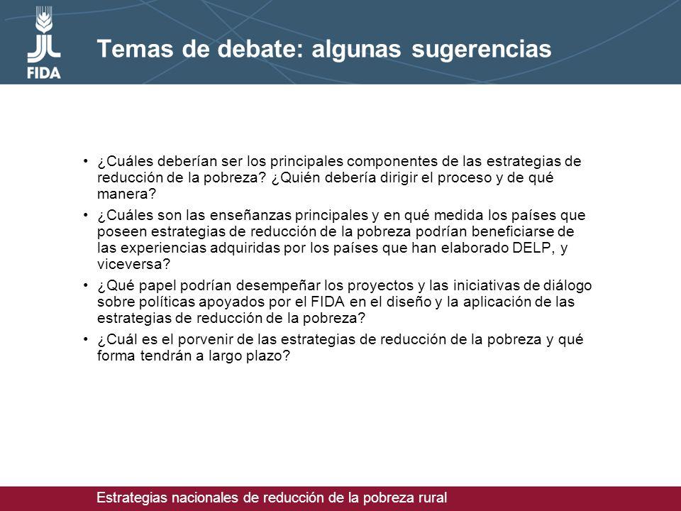 Estrategias nacionales de reducción de la pobreza rural Temas de debate: algunas sugerencias ¿Cuáles deberían ser los principales componentes de las estrategias de reducción de la pobreza.
